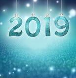 Uppsättningen av skinande siffror för silver blänker på bakgrund Bakgrund 2019 för nytt år Jul vektor illustrationer