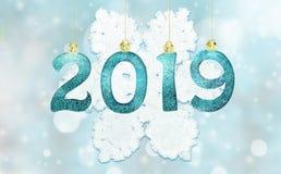 Uppsättningen av skinande siffror för silver blänker på bakgrund Bakgrund 2019 för nytt år Jul fotografering för bildbyråer