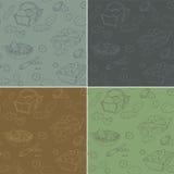Uppsättningen av 4 skissade sömlös textur med potatisar Vektor Illustrationer