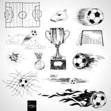 Uppsättningen av skissar fotbollbeståndsdelar Arkivfoton