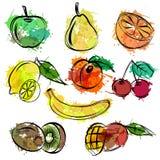 Uppsättningen av skissar fruktvitbakgrund Fotografering för Bildbyråer