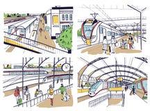 Uppsättningen av skissar med järnvägsstationen Passagerare på plattformen och att vänta, för ankomma och avtågande drev Hand drag vektor illustrationer