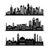 Uppsättningen av skyskrapan skissar Stadsdesign Arkivbild