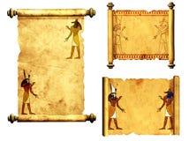 Uppsättningen av snirklar med egyptiska gudar avbildar - Anubis och Horus stock illustrationer