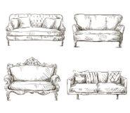 Uppsättningen av soffateckningar skissar stil, vektorillustration Arkivbild