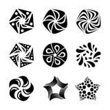 Uppsättningen av solen, stjärnor, blommar former för logodesign Tappninglogoen, etiketter, förser med märke Minsta svart fyrverke vektor illustrationer
