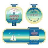 Uppsättningen av sommarförsäljningen märker, etiketter, klistermärkear, baner vektor illustrationer