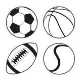 Uppsättningen av sportar klumpa ihop sig tennis för amerikansk fotboll för fotbollbasket Arkivbilder