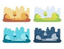 Uppsättningen av staden parkerar vektor illustrationer