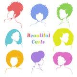 Uppsättningen av stiliserad kvinna` s slår sönder med lockigt hår royaltyfri illustrationer