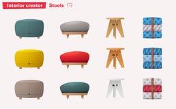 Uppsättningen av stolar för hem och kontoret planlägger den främmande tecknad filmkatten flyr illustrationtakvektorn stock illustrationer
