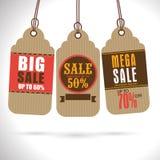 Uppsättningen av stora Sale märker, eller etiketter planlägger stock illustrationer