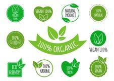 Uppsättningen av strikt vegetarian, organisk sund mat undertecknar, logoer, symboler, etiketter Sunda matemblem, etiketter ställd Royaltyfria Bilder