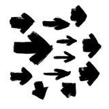 Uppsättningen av svart abstrakt begrepp för grunge 12 texturerade vektorpilar stock illustrationer