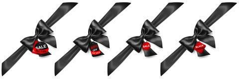 Uppsättningen av svart bugar med diagonalt band och försäljningsetiketter stock illustrationer