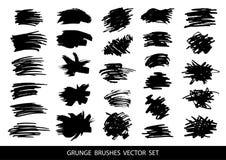 Uppsättningen av svart målarfärg, färgpulverborsteslaglängder, borstar, fodrar Smutsiga konstnärliga designbeståndsdelar, askar,  vektor illustrationer