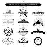 Uppsättningen av svart & vit tappning förser med märke och etiketter royaltyfri illustrationer