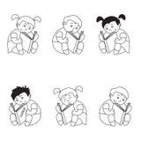 Uppsättningen av symboler av barn läste en bok, kontur av ungar som isolerades på vit bakgrund royaltyfri illustrationer