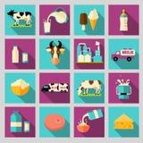 Uppsättningen av symboler för mjölkar Mejeriprodukter produktion Royaltyfri Bild
