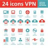 24 vektorsymboler VPN (faktiska privata knyter kontakt), Royaltyfri Foto