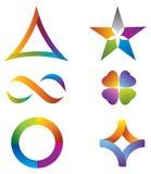 Uppsättningen av symbolsregnbågen färgar - stjärnan/oändligheten/Ci Arkivbild