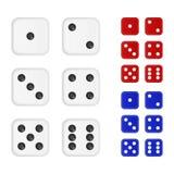 Uppsättningen av tärnar i tre färger - vit som är röd, blått royaltyfri illustrationer
