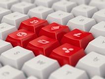 Uppsättningen av tangentbordet knäppas med populär valuta och cryptocurrency Stock Illustrationer