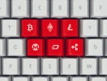 Uppsättningen av tangentbordet knäppas med populär valuta och cryptocurrency Royaltyfri Illustrationer