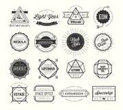 Uppsättningen av tappning förser med märke och etiketter som är inspirerade vid utrymmeteman Arkivbilder