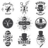 Uppsättningen av tappningbarberaren shoppar emblem royaltyfri illustrationer