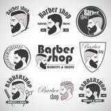Uppsättningen av tappningbarberaren shoppar emblem, märker, emblem och planlagda beståndsdelar Royaltyfria Foton