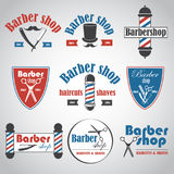 Uppsättningen av tappningbarberaren shoppar emblem, märker, emblem och planlagda beståndsdelar Arkivfoton