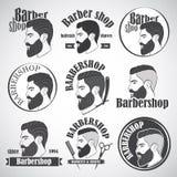Uppsättningen av tappningbarberaren shoppar emblem, märker, emblem och planlagda beståndsdelar Royaltyfri Bild