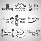 Uppsättningen av tappningbarberaren shoppar emblem, märker, emblem och planlagda beståndsdelar Royaltyfria Bilder
