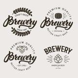 Uppsättningen av tappningbryggeriemblemet, etiketten, logomall planlägger Royaltyfri Fotografi