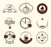 Uppsättningen av tappningkaffe förser med märke och etiketter Fotografering för Bildbyråer