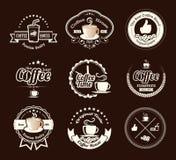 Uppsättningen av tappningkaffe förser med märke och etiketter Arkivbild