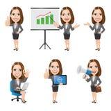 Uppsättningen av teckenet för affärskvinnan i olika 6 poserar Royaltyfri Fotografi