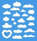 Uppsättningen av tecknade filmen fördunklar på blått vektor Arkivfoto