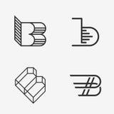 Uppsättningen av tecknet för bokstav B, logo, beståndsdelar för symbolsdesignmall Arkivbild