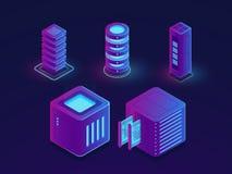 Uppsättningen av teknologibeståndsdelar, serverrum, molndatalagring, framtida datavetenskapsframsteg anmärker den isometriska vek royaltyfri illustrationer