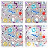 Uppsättningen av 80th mönstrar geometri av olika färger Royaltyfri Bild