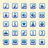 Uppsättningen av tjugofem blåa knappar vektor illustrationer
