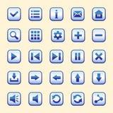Uppsättningen av tjugofem blåa knappar stock illustrationer
