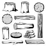 Uppsättningen av trä loggar för skogsbruk och bråtebransch Illustration av stammar, stubben och plankor vektor illustrationer
