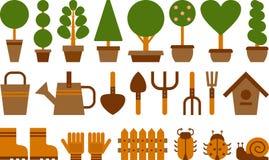 Uppsättning av trädgårds- symboler Arkivfoto