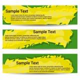 Uppsättningen av tre baner Toner för gul gräsplan av färger Royaltyfria Bilder