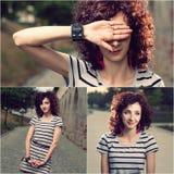 Uppsättningen av tre bilder av gulliga röda haired kvinnor som utomhus går i stad, parkerar Royaltyfri Fotografi