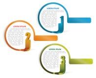 Uppsättningen av tre färgade vektorbeståndsdelar för text Royaltyfria Foton