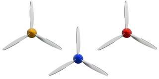 Uppsättningen av tre plana vita propellerskruvar för sport med gula röda blått täcker locket Flygplanluftskruv av motordelen Flyg Arkivfoton